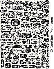 speech bubbles words doodles