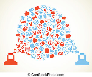 Speech cloud and account icons