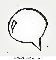 speech cloud hand drawn, vector doodle icon