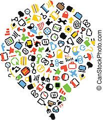 Speech cloud of Color pixel icons