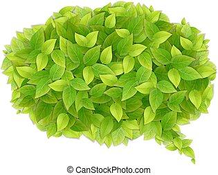 Speech cloud of green leaves