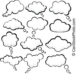 Speech clouds. - Set of comic style speech bubbles. Vector...