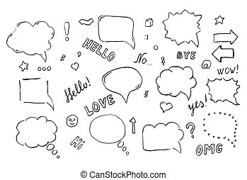 Speech hand drawn bubbles set