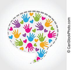 Speech hands and hearts logo vector illustration