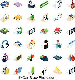 Speech icons set, isometric style