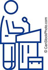 Speech instructor,lecturer line icon concept. Speech...