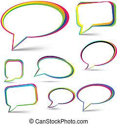 Speech signs set. - Vector illustration of speech color...