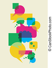 Interactive multicolored bubbles in different sizes and forms illustration. Vector file available.