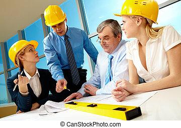 Speech - Creative photo of foreman speaking about near...
