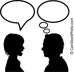 She says he listens. A couple discuss as the woman talks in a speech bubble and the man listens and thinks in a thought bubble.