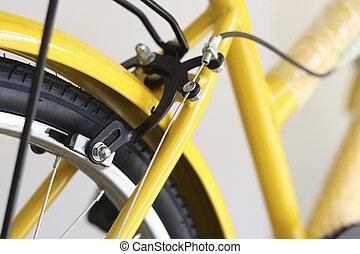 speed., arrière, roues, frein, système, vélo, lent