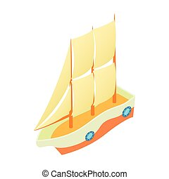 Speed boat icon, cartoon style - Speed boat icon in cartoon...