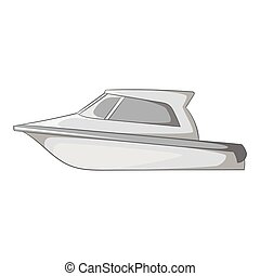 Speed boat icon, gray monochrome style - Speed boat icon....