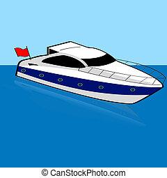 Speed boat - Cartoon illustration of a speed boat anchored...