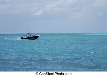 Speed boat in Caribbean waters