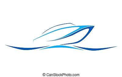 speed boat blue logo icon, vector illustration, wave