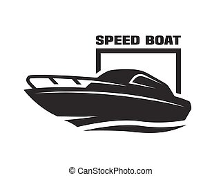 Speed boat monochrome logo, emblem. Vector illustration