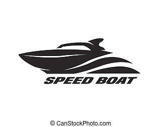 Speed boat, monochrome logo. - Speed boat, monochrome logo,...