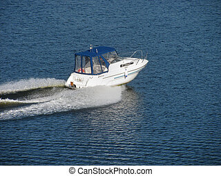 speed boat on river - speed boat moving by river