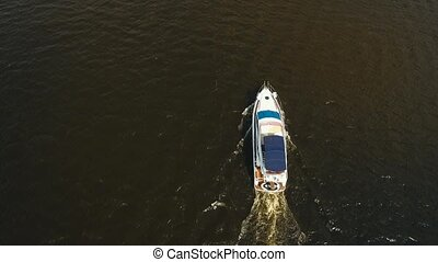 Speed boat on the river. - Small luxurious yacht. Fast...