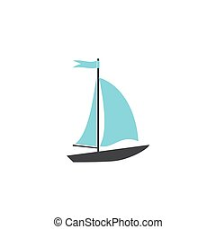 Speed boat on white background icon