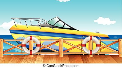 Speed boat park by the pier illustration