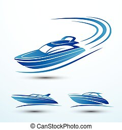 Speed boat symbol set vector. illustration