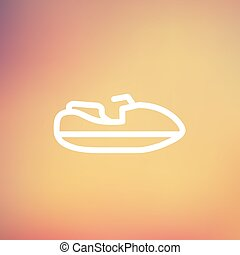 Speed boat thin line icon - Speed boat icon thin line for...