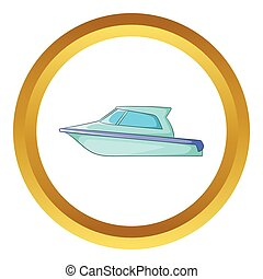 Speed boat vector icon in golden circle, cartoon style...