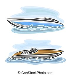 Vector illustration of logo for speed boat powerboat, consisting of racing motorboat, floating on the ocean sea waves, luxury expensive sport motor longboat close-up on blue background