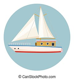 Speed boat with sail icon, cartoon style