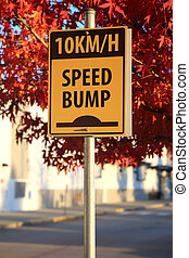 Speed bump road sign