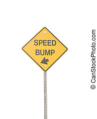 Speed Bump - Speed bump sign isolated on a white background