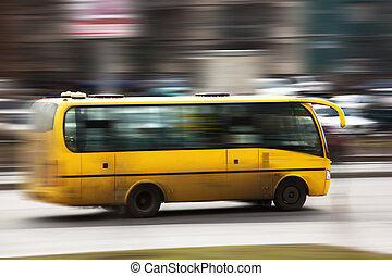 speed bus in blurred motion