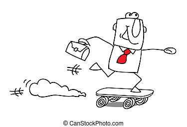 speed businessman - Businessman Skater, rushing for...