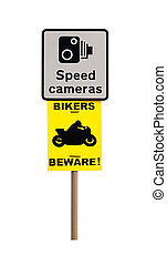 Speed Camera and Biker Warning Sign
