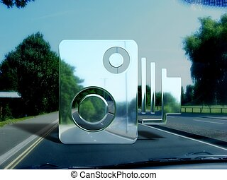 Speed camera - View from a car window of an illustrated...