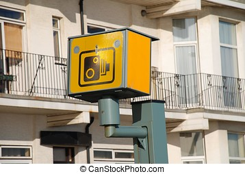 Speed camera, Hastings - A yellow speed camera on the...