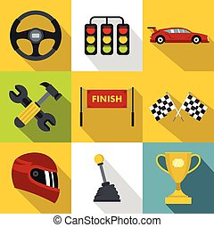 Speed cars icons set, flat style