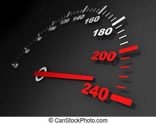 speed - 3d illustration of car speed meter close-up