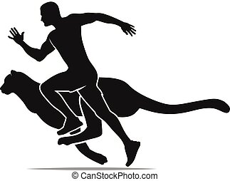 speed concept , fast running man with cheetah silhouette