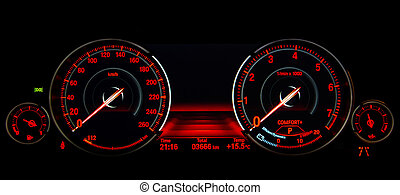 Speed control dashboard - Modern luxury sport car. Speed...