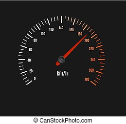 Speed Counter or Speedometer Dashboard Car with Pointer. Vector