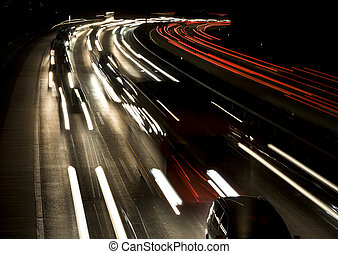 Speed - Crowded highway at night, Berne, Switzerland, Europe