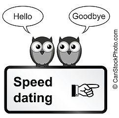 Monochrome comical speed dating sign isolated on white background