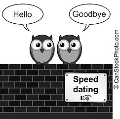 Monochrome comical speed dating sign on brick wall isolated on white background