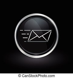 Speed email delivery icon inside round silver and black emblem