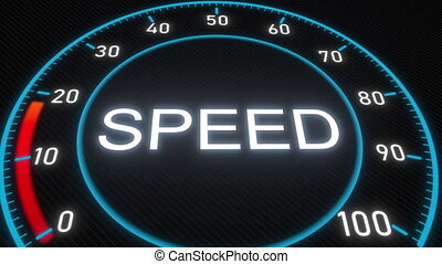 Speed futuristic meter or indicator. Conceptual 3D animation...