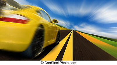 Speed - High-speed motion-blurred auto on rural highway