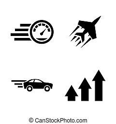 speed., iconen, eenvoudig, verwant, vector, opvoering